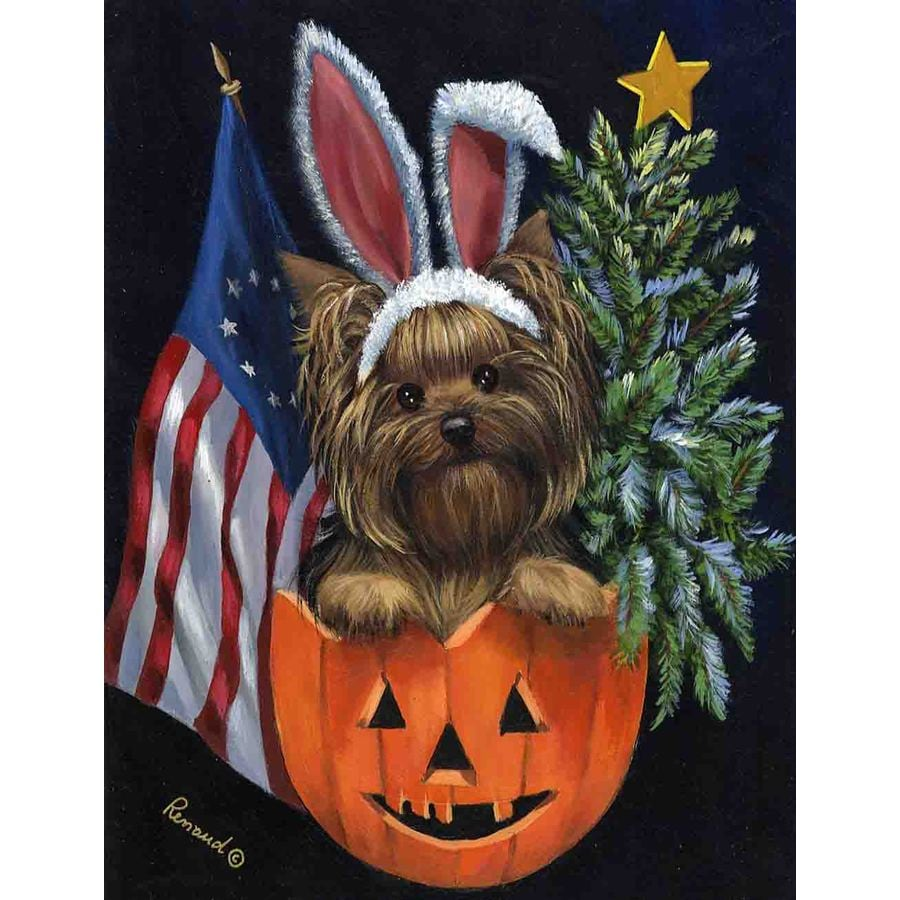 Precious Pet Paintings 1.5-ft x 1.04-ft Yorkshire Terrier Celebration Flag