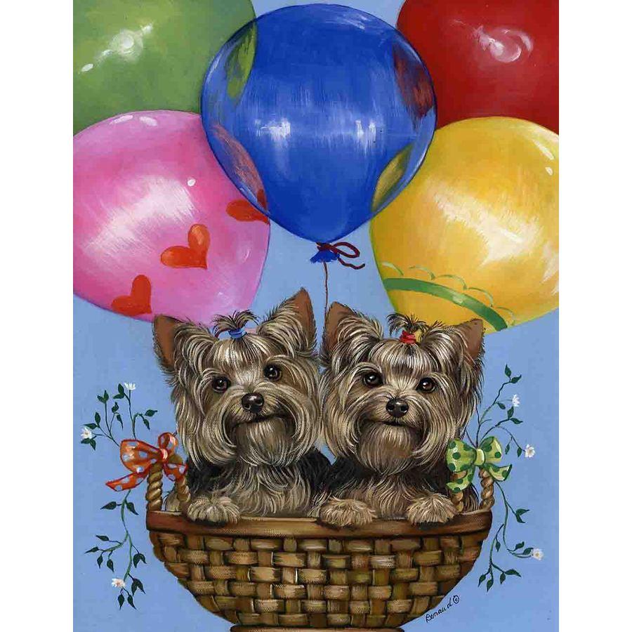 Precious Pet Paintings 1.5-ft x 1.04-ft Yorkshire Terrier Celebration Flag