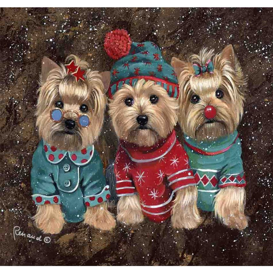 Precious Pet Paintings 1.5-ft x 1.04-ft Yorkshire Terrier Christmas Flag