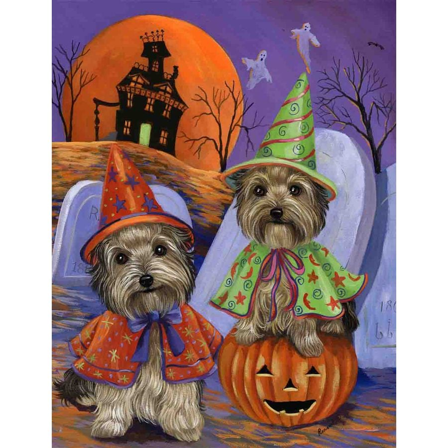 Precious Pet Paintings 1.5-ft x 1.04-ft Yorkshire Terrier Halloween Flag