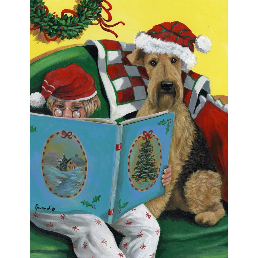 Precious Pet Paintings 3.33-ft x 2.33-ft Airedale Terrier Christmas Flag