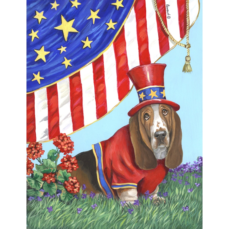 Precious Pet Paintings 3.33-ft x 2.33-ft Basset Hound 4th of July Flag