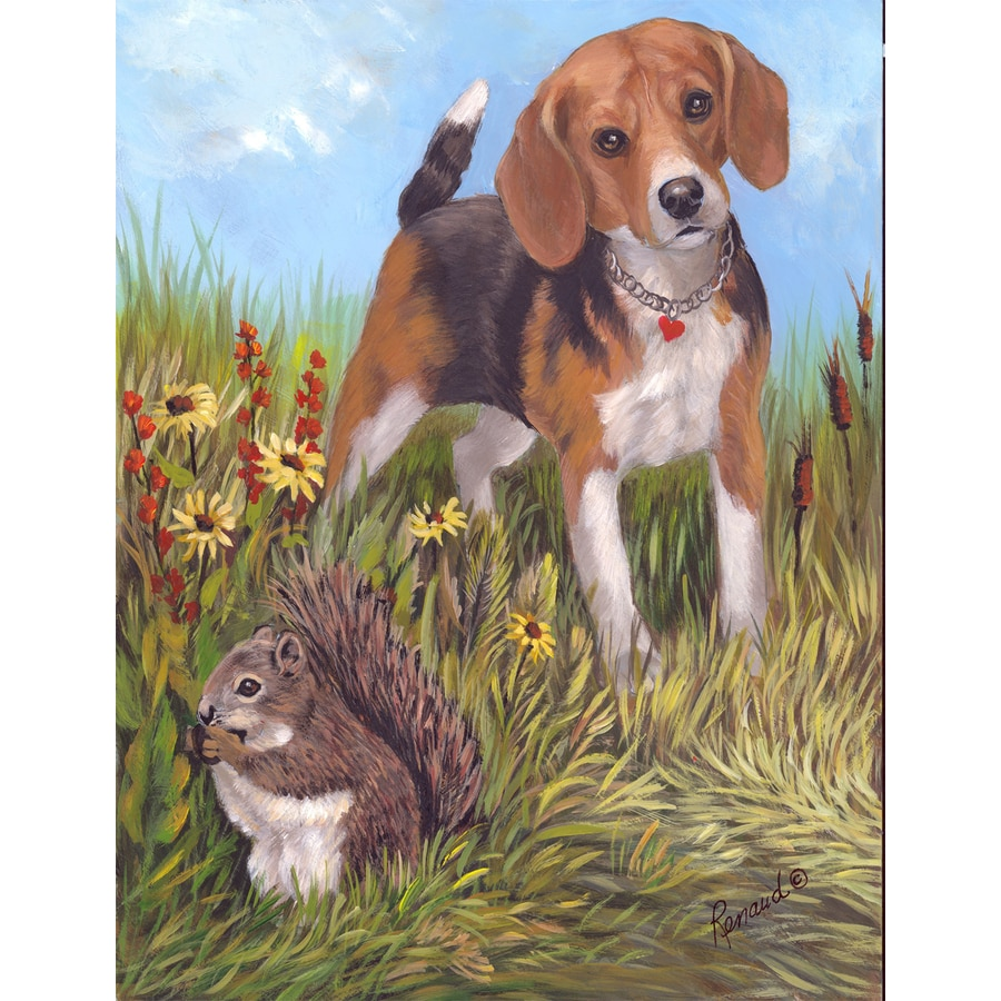 Precious Pet Paintings 3.33-ft x 2.33-ft Beagle Spring Flag