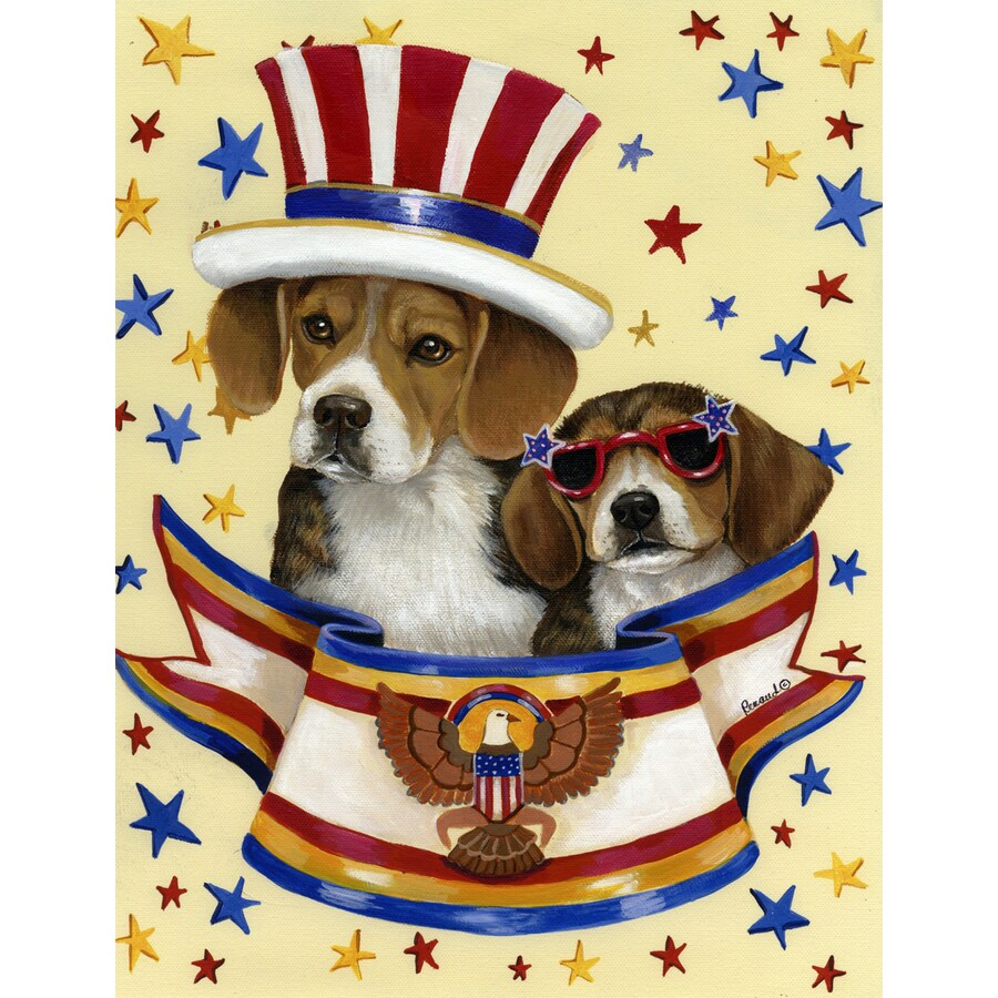 Precious Pet Paintings 3.33-ft x 2.33-ft Beagle 4th of July Flag