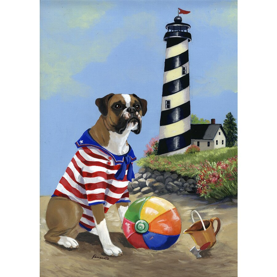 Precious Pet Paintings 3.33-ft x 2.33-ft Boxer Beach Flag