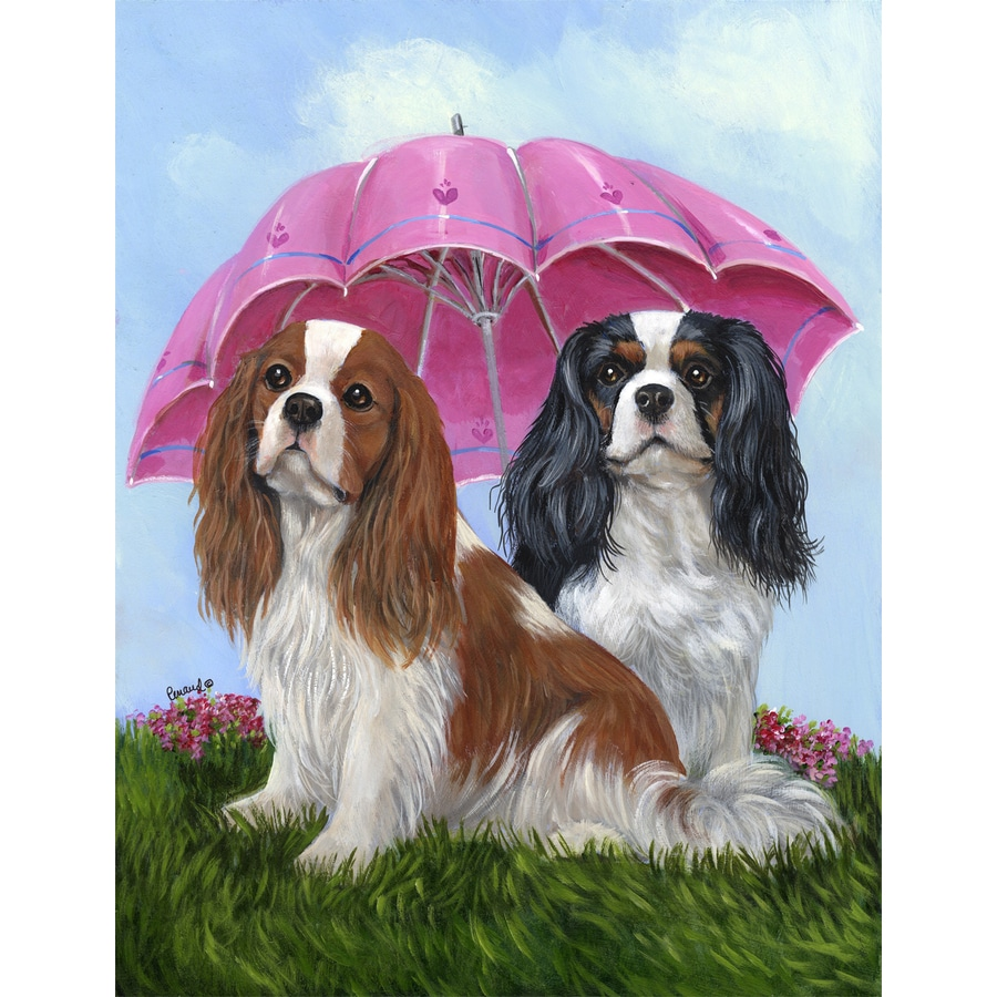 Precious Pet Paintings 3.33-ft x 2.33-ft Cavalier King Charles Spaniel Spring Flag