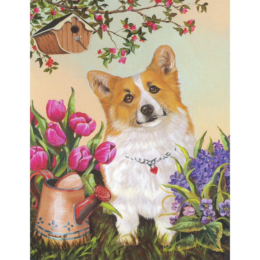 Precious Pet Paintings 3.33-ft x 2.33-ft Corgi Spring Flag
