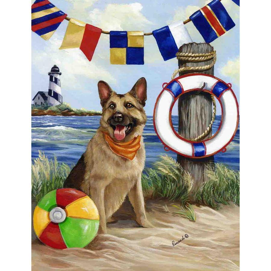 Precious Pet Paintings 3.33-ft x 2.33-ft German Shepherd Beach Flag