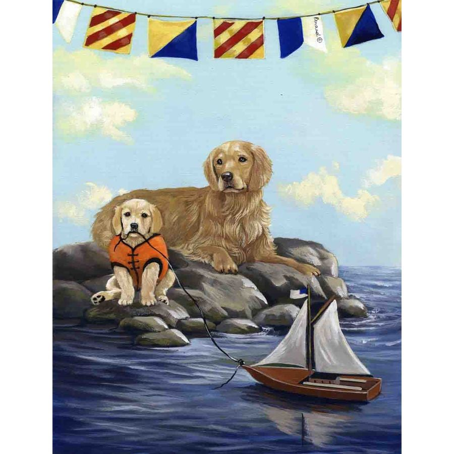 Precious Pet Paintings 3.33-ft x 2.33-ft Golden Retriever Beach Flag
