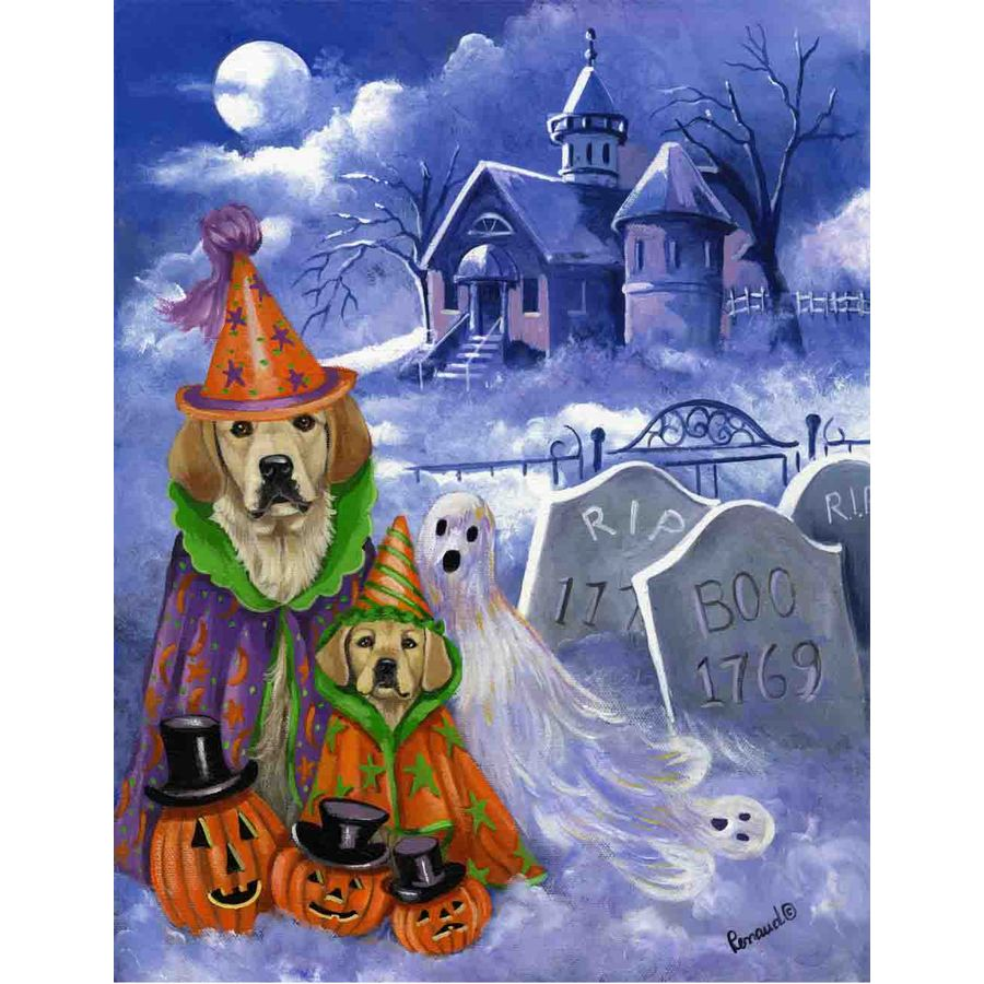Precious Pet Paintings 3.33-ft x 2.33-ft Golden Retriever Halloween Flag