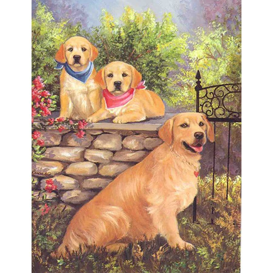 Precious Pet Paintings 3.33-ft x 2.33-ft Golden Retriever Spring Flag