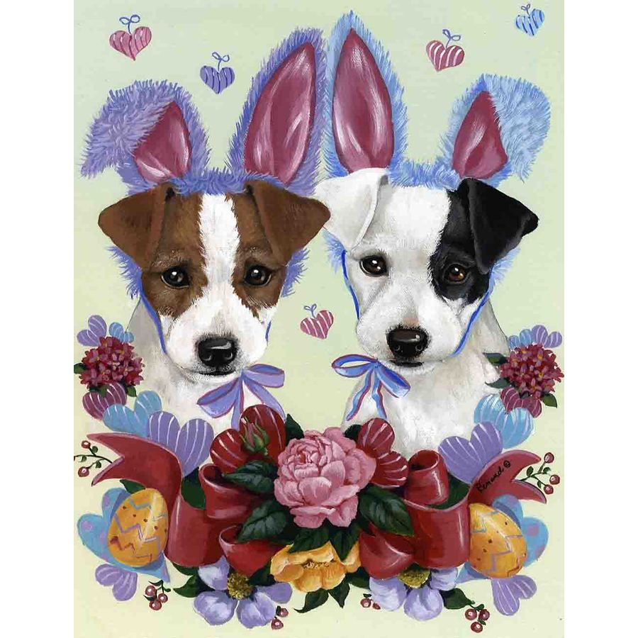 Precious Pet Paintings 3.33-ft x 2.33-ft Jack Russell Easter Flag