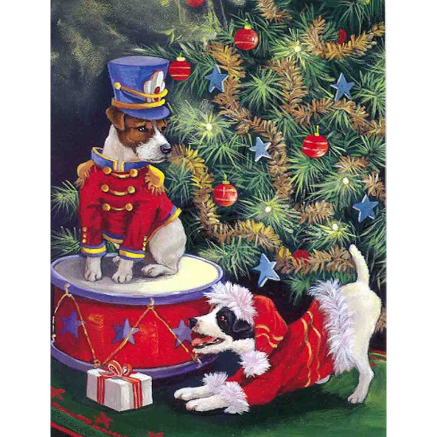 Precious Pet Paintings 3.33-ft x 2.33-ft Jack Russell Christmas Flag