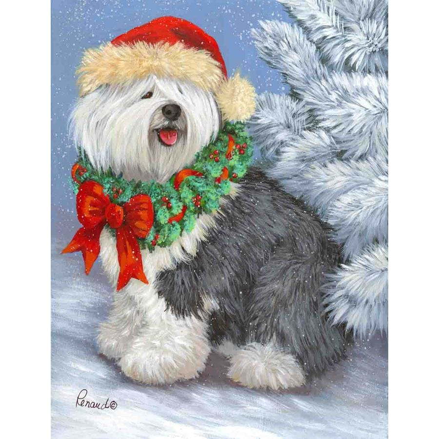 Precious Pet Paintings 3.33-ft x 2.33-ft Old English Sheepdog Christmas Flag