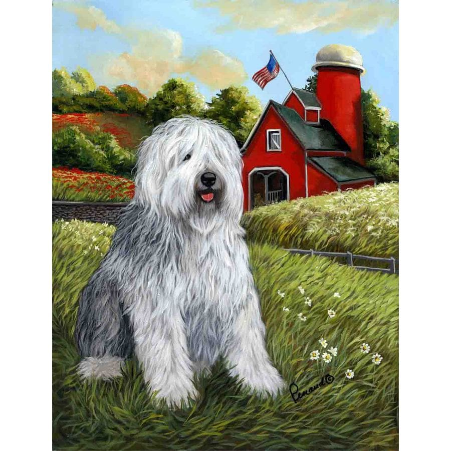 Precious Pet Paintings 3.33-ft x 2.33-ft Old English Sheepdog Spring Flag
