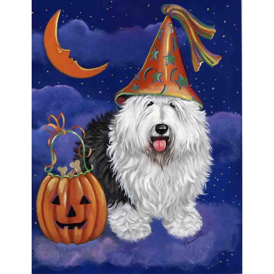 Precious Pet Paintings 3.33-ft x 2.33-ft Old English Sheepdog Halloween Flag