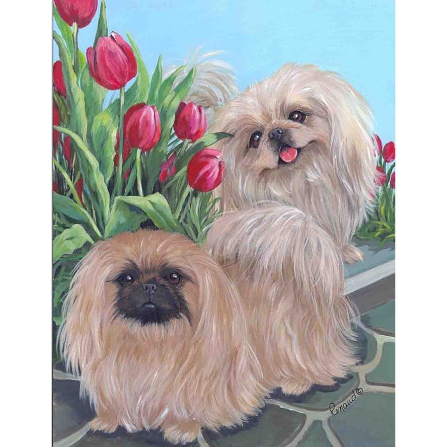 Precious Pet Paintings 3.33-ft x 2.33-ft Pekingese Spring Flag