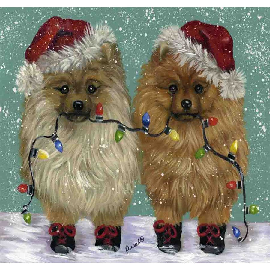 Precious Pet Paintings 3.33-ft x 2.33-ft Pomeranian Christmas Flag