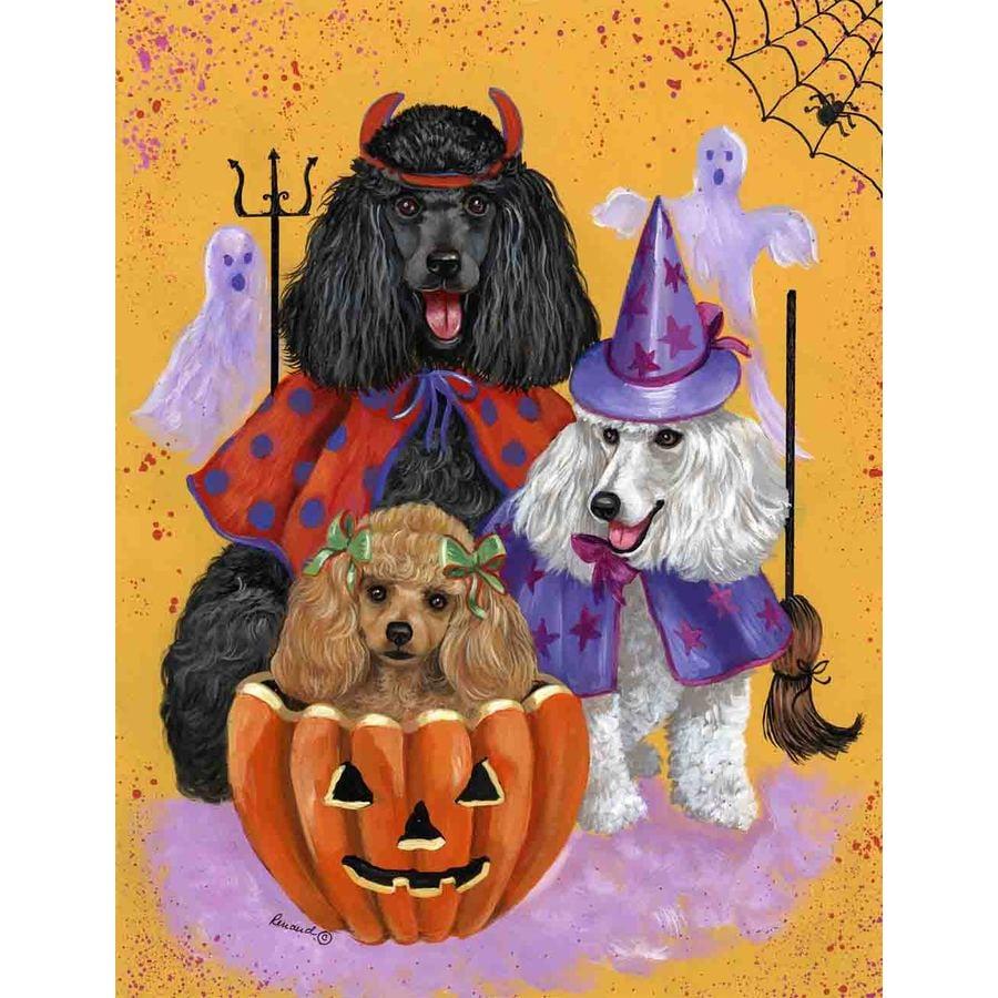 Precious Pet Paintings 3.33-ft x 2.33-ft Poodle Halloween Flag