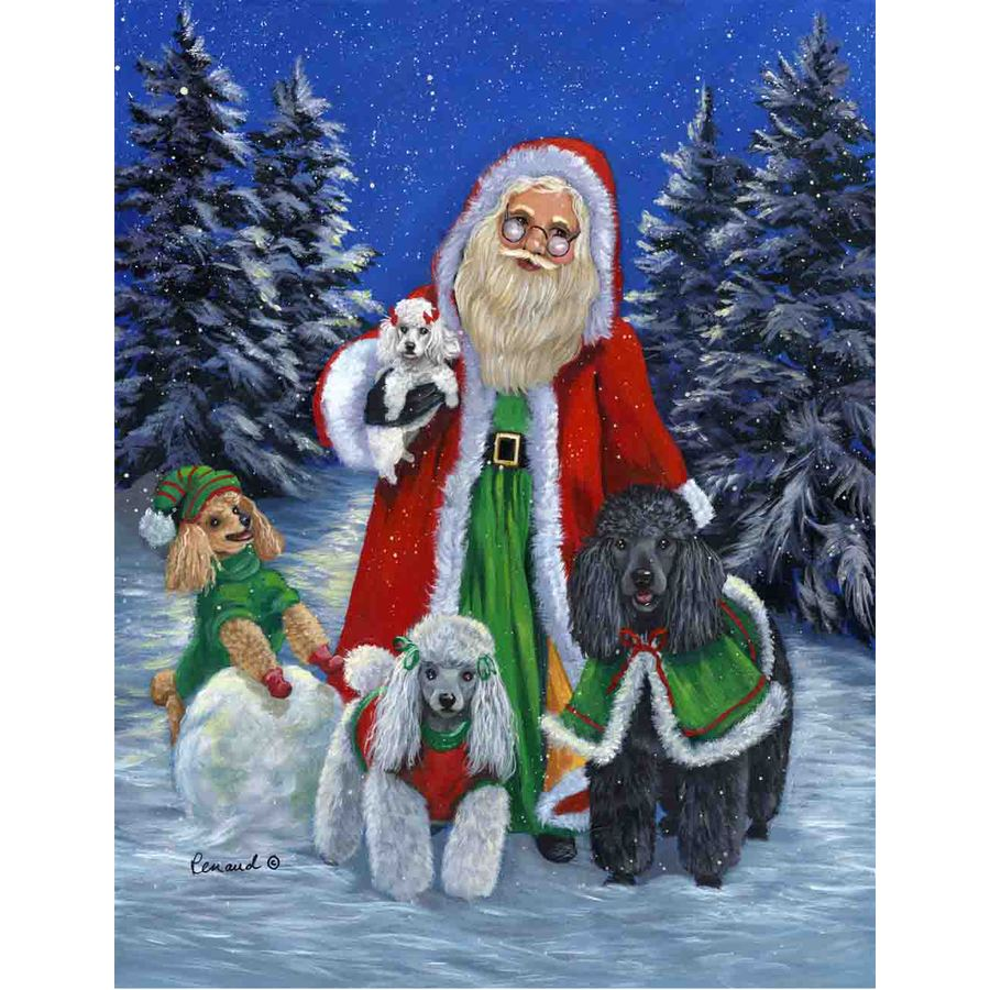Precious Pet Paintings 3.33-ft x 2.33-ft Poodle Christmas Flag