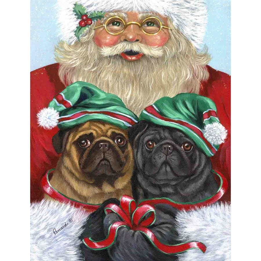 Precious Pet Paintings 3.33-ft x 2.33-ft Pug Christmas Flag