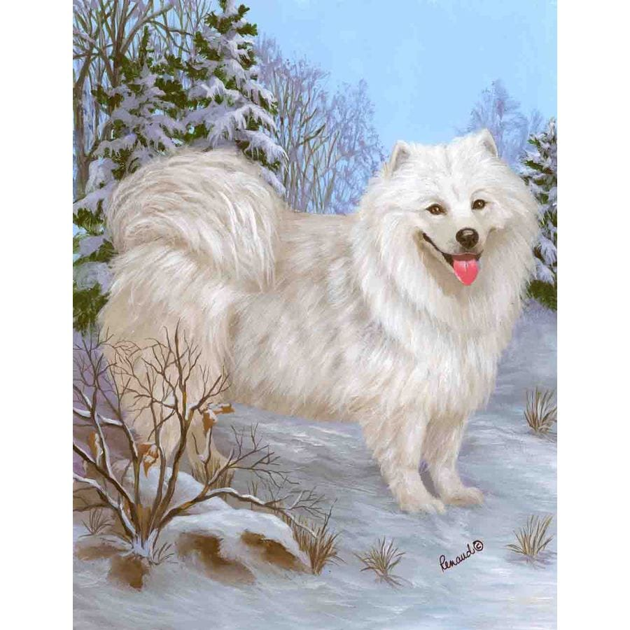 Precious Pet Paintings 3.33-ft x 2.33-ft Samoyed Winter Flag