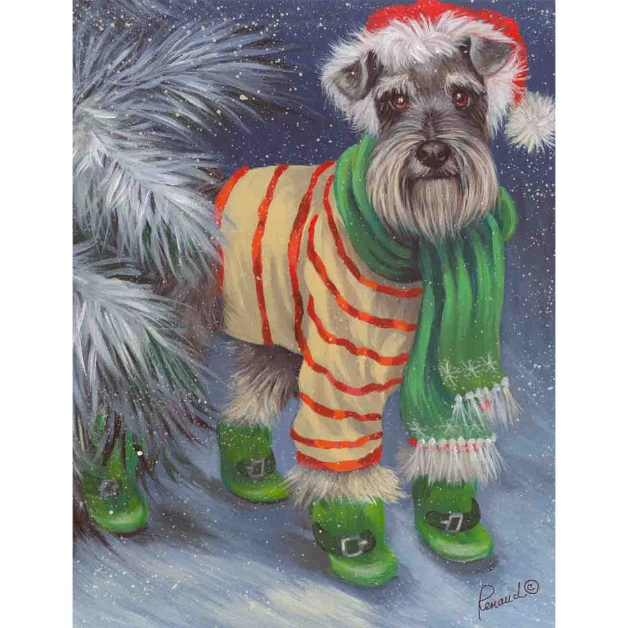 Precious Pet Paintings 3.33-ft x 2.33-ft Schnauzer Christmas Flag