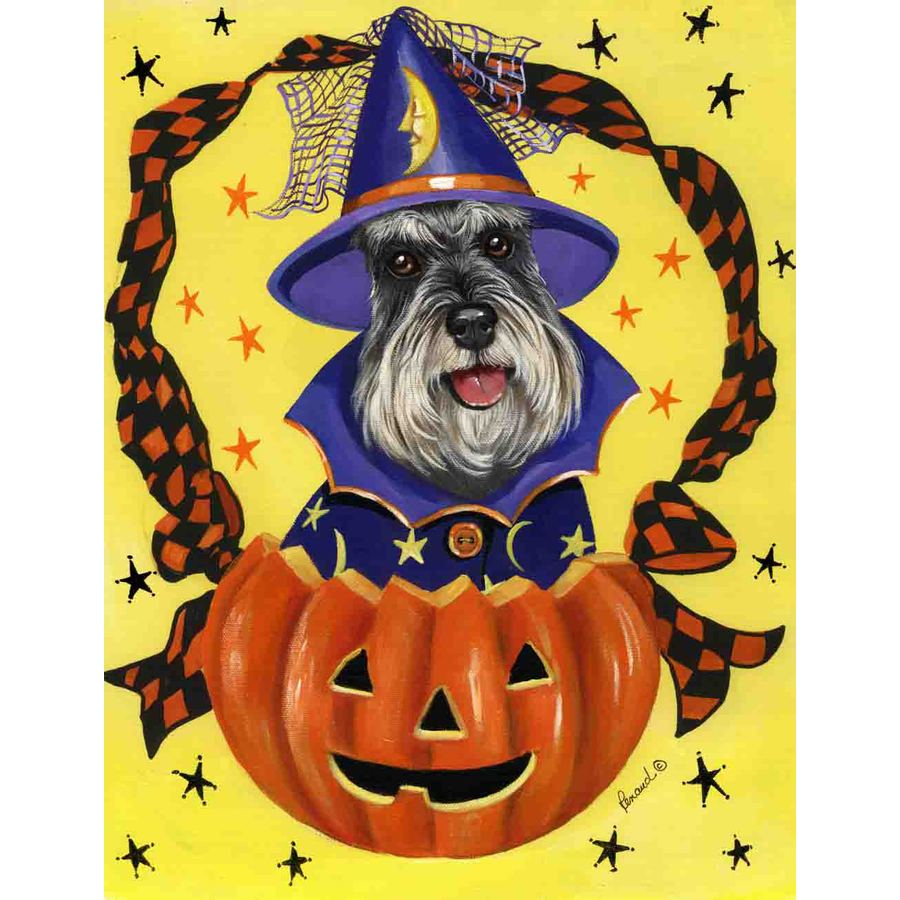 Precious Pet Paintings 3.33-ft x 2.33-ft Schnauzer Halloween Flag