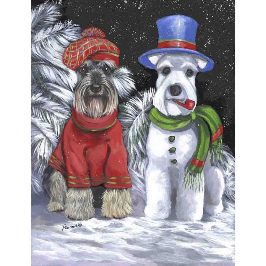 Precious Pet Paintings 3.33-ft x 2.33-ft Schnauzer Winter Flag