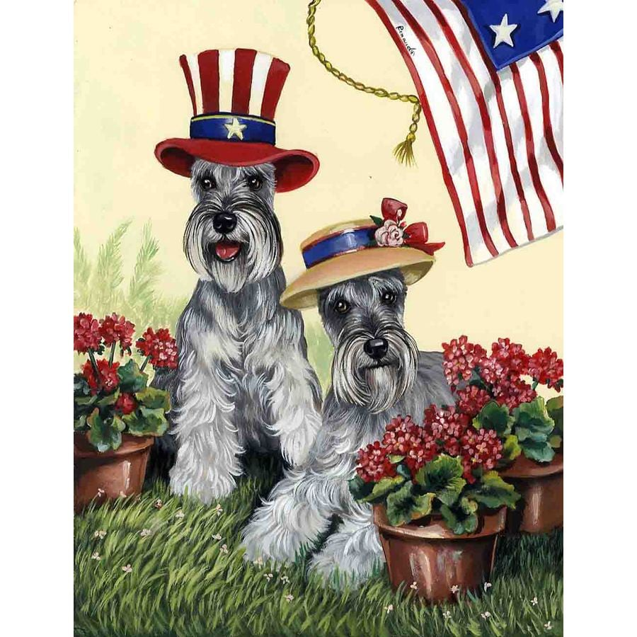 Precious Pet Paintings 3.33-ft x 2.33-ft Schnauzer 4th of July Flag
