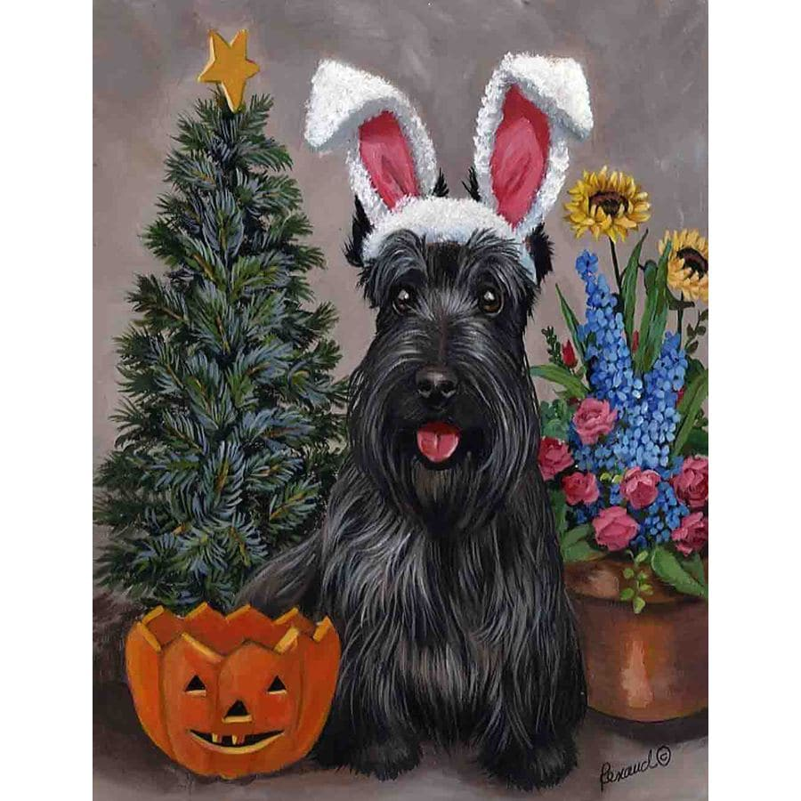 Precious Pet Paintings 3.33-ft x 2.33-ft Scottish Terrier Celebration Flag