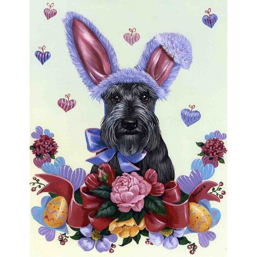 Precious Pet Paintings 3.33-ft x 2.33-ft Scottish Terrier Easter Flag