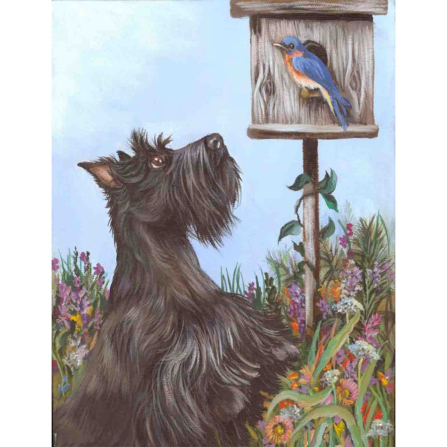 Precious Pet Paintings 3.33-ft x 2.33-ft Scottish Terrier Spring Flag