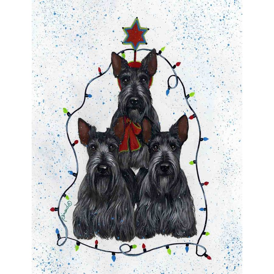 Precious Pet Paintings 3.33-ft x 2.33-ft Scottish Terrier Christmas Flag