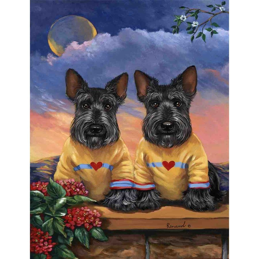 Precious Pet Paintings 3.33-ft x 2.33-ft Scottish Terrier Spring Flag
