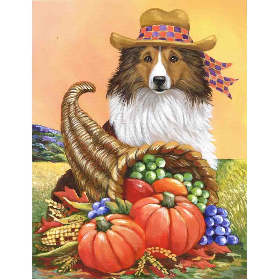 Precious Pet Paintings 3.33-ft x 2.33-ft Shetland Sheepdog Fall Flag