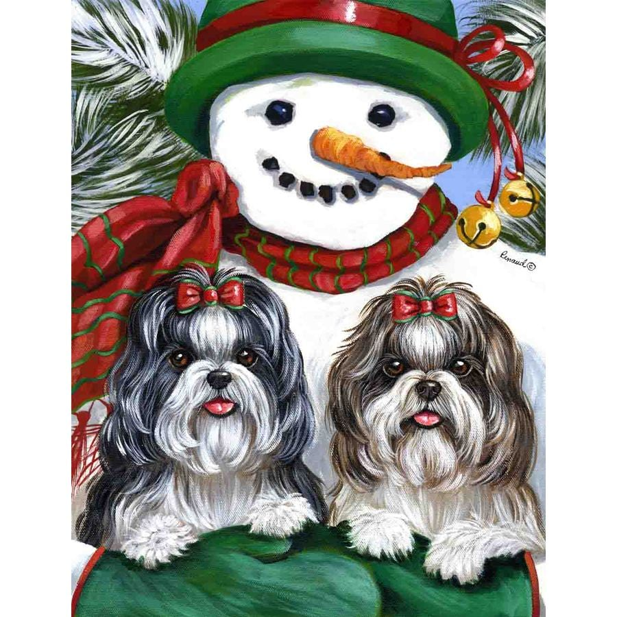 Precious Pet Paintings 3.33-ft x 2.33-ft Shih Tzu Winter Flag