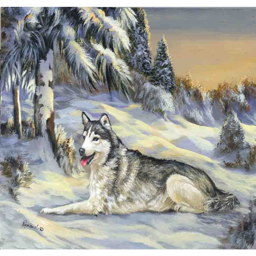 Precious Pet Paintings 3.33-ft x 2.33-ft Siberian Husky Winter Flag