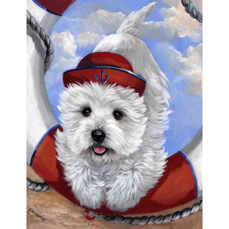 Precious Pet Paintings 3.33-ft x 2.33-ft West Highland Terrier Beach Flag