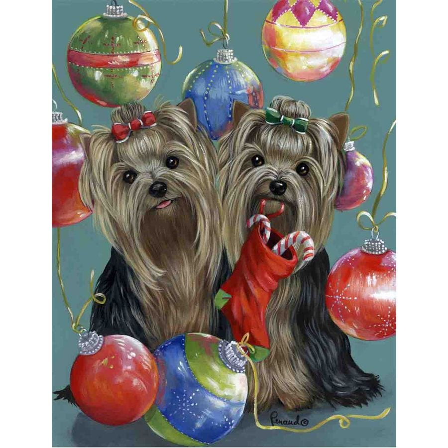Precious Pet Paintings 3.33-ft x 2.33-ft Yorkshire Terrier Christmas Flag