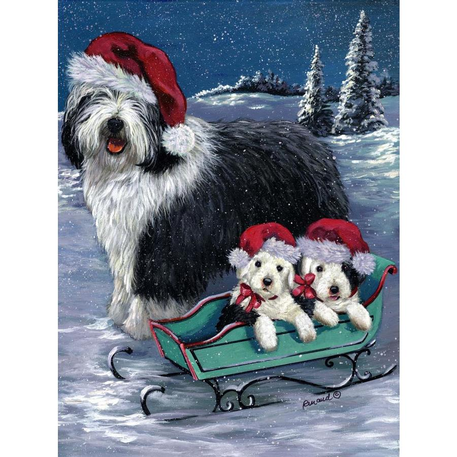 Precious Pet Paintings 1.5-in x 1.04-in Old English Sheepdog Winter Flag
