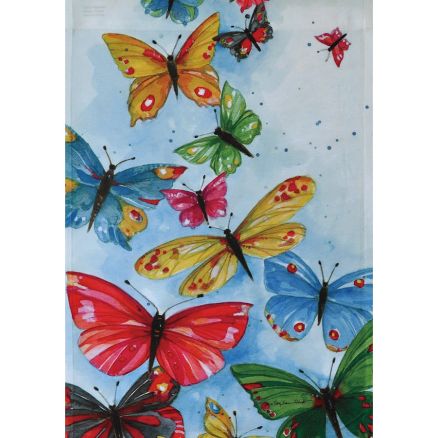 Rain or Shine 1.5-ft x 1.04-ft Butterflies Garden Flag