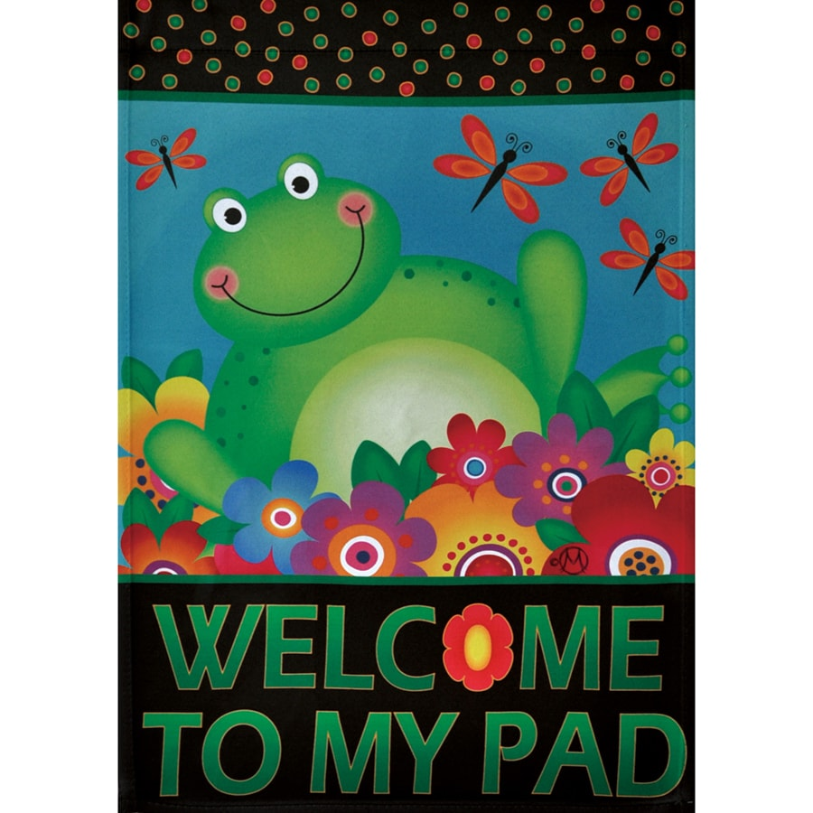 Rain or Shine 1.5-ft x 1.04-ft Frogs Garden Flag