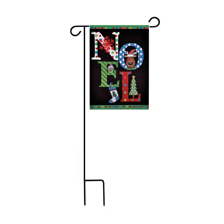 Rain or Shine 1.48-ft W x 3.17-ft H Christmas Embroidered Garden Flag
