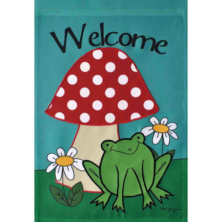 Rain or Shine 1.04-ft W x 1.5-ft H Frogs Embroidered Garden Flag
