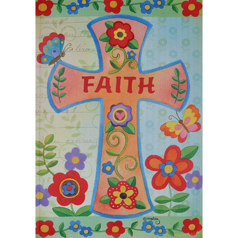 Rain or Shine 1.04-ft W x 1.5-ft H Inspirational Embroidered Garden Flag