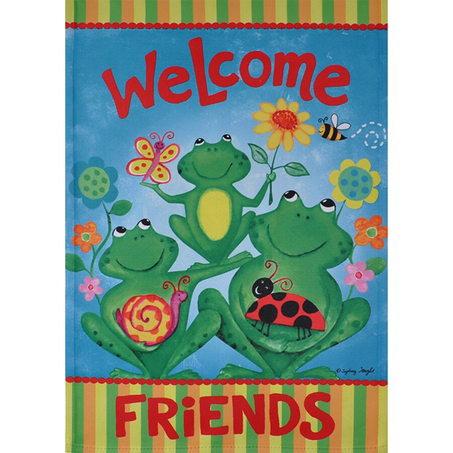 Rain or Shine 1.04-ft W x 1.5-ft H Frogs Garden Flag