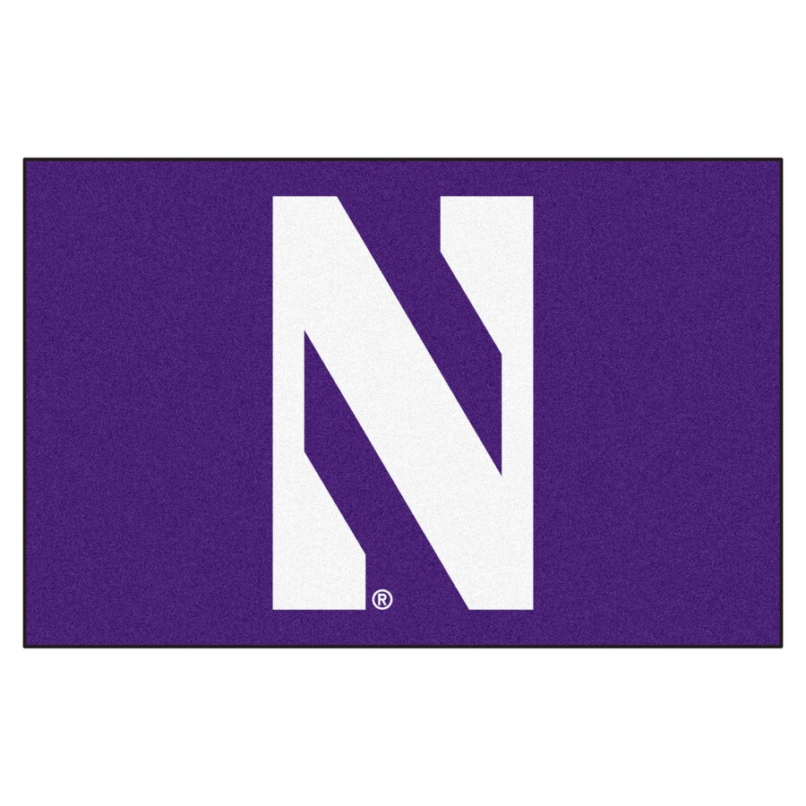 FANMATS Northwestern University Rectangular Indoor Machine-Made Sports Throw Rug (Common: 1-1/2 x 2-1/2; Actual: 1.583-ft W x 2.5-ft L x dia)