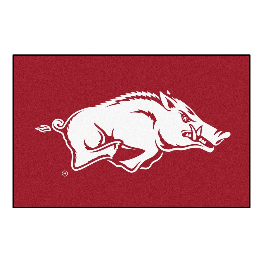 FANMATS University of Arkansas Rectangular Indoor Machine-Made Sports Throw Rug (Common: 1-1/2 x 2-1/2; Actual: 1.583-ft W x 2.5-ft L x dia)