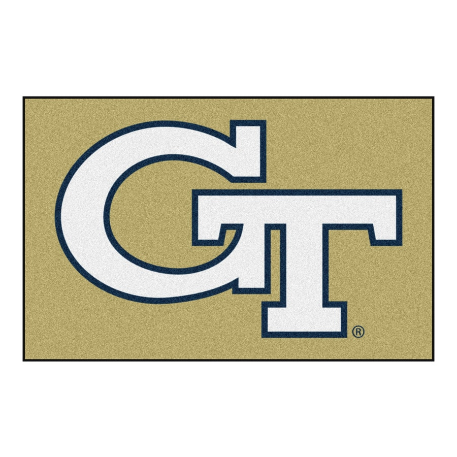 FANMATS Georgia Tech Rectangular Indoor Machine-Made Sports Throw Rug (Common: 1-1/2 x 2-1/2; Actual: 1.583-ft W x 2.5-ft L x dia)